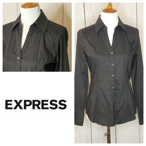 Express black fitted button down shirt